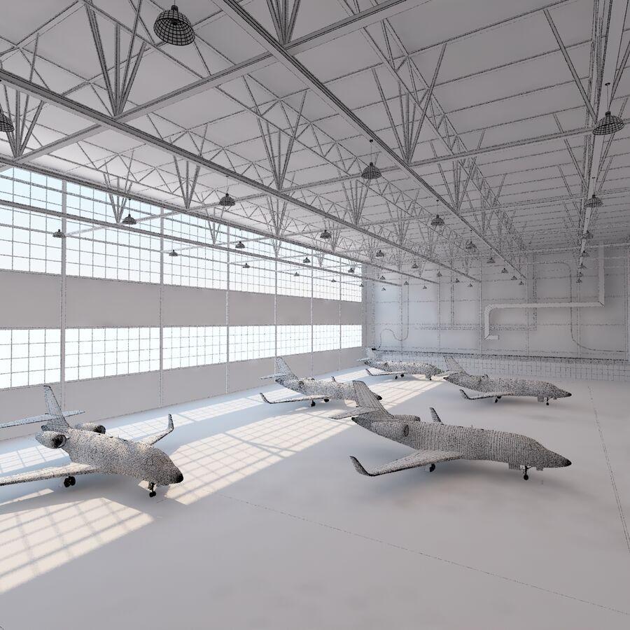 航空機と航空機の格納庫。 royalty-free 3d model - Preview no. 24