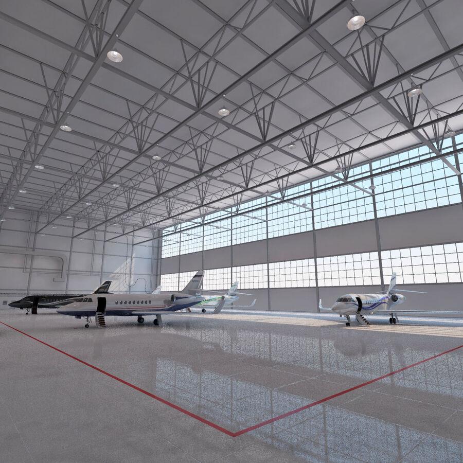 航空機と航空機の格納庫。 royalty-free 3d model - Preview no. 7