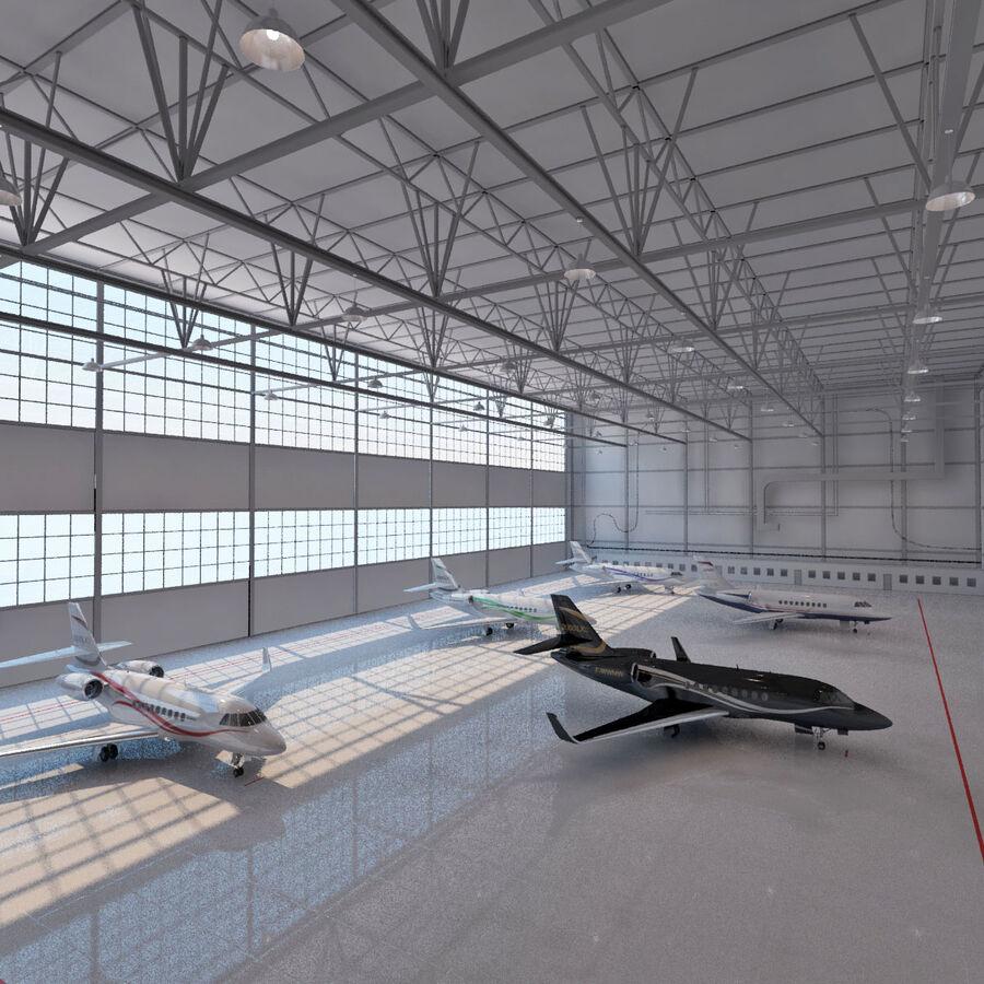航空機と航空機の格納庫。 royalty-free 3d model - Preview no. 4