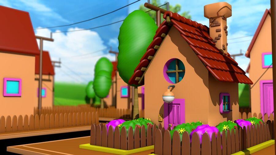 Hus och stad (1) royalty-free 3d model - Preview no. 1