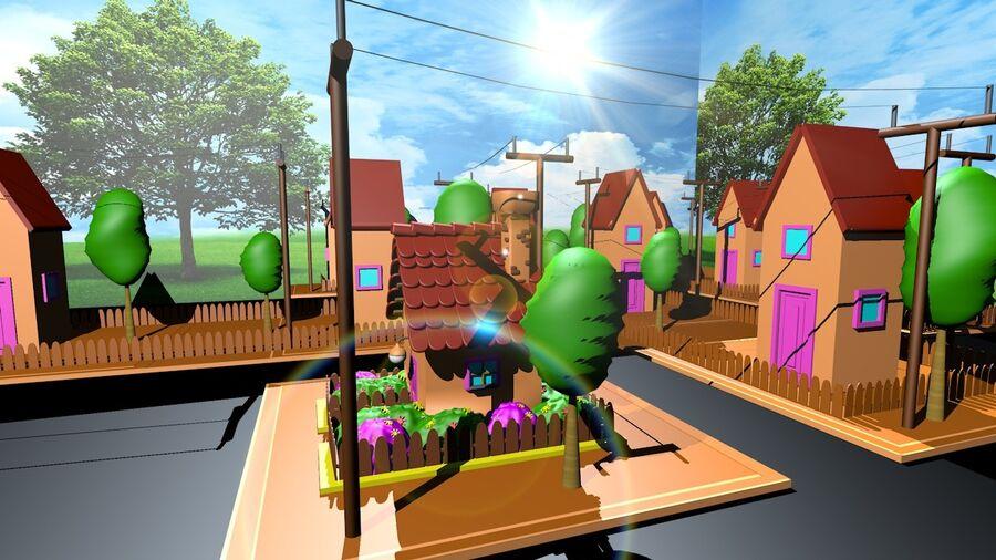 Hus och stad (1) royalty-free 3d model - Preview no. 4