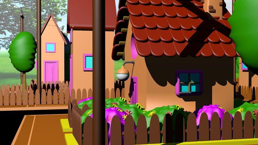 Hus och stad (1) royalty-free 3d model - Preview no. 2