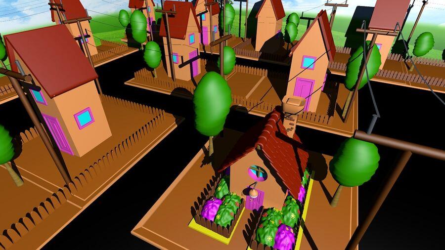 Hus och stad (1) royalty-free 3d model - Preview no. 3