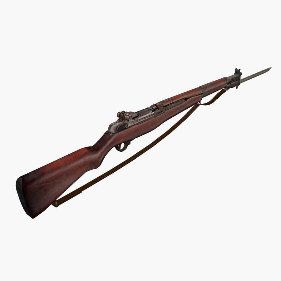 Low Poly M1 Garand royalty-free 3d model - Preview no. 1