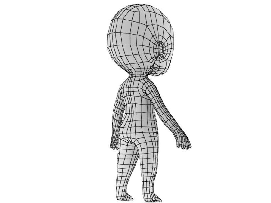 Chibi Base Mesh 02 royalty-free 3d model - Preview no. 4