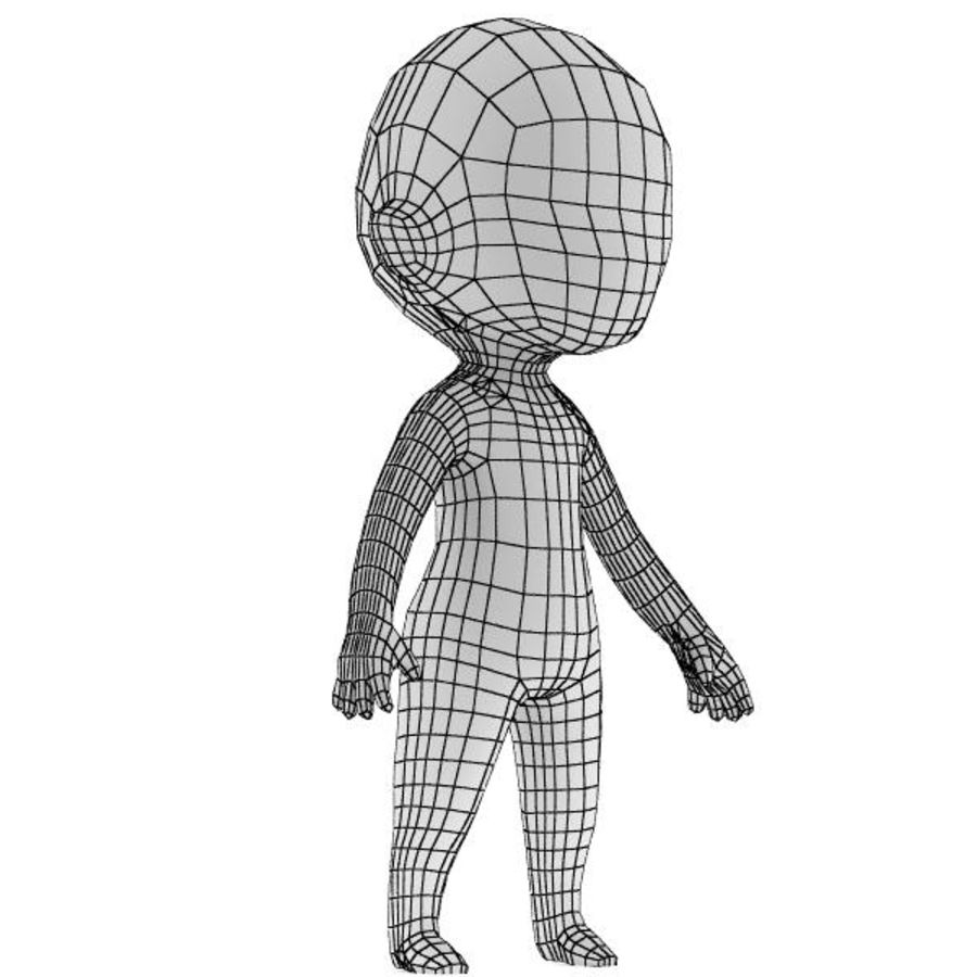 Chibi Base Mesh 02 royalty-free 3d model - Preview no. 3