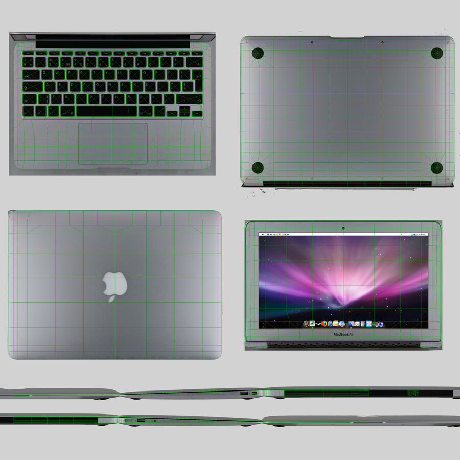 Apple MacBook Air 11 2010 Low-Poly royalty-free 3d model - Preview no. 10