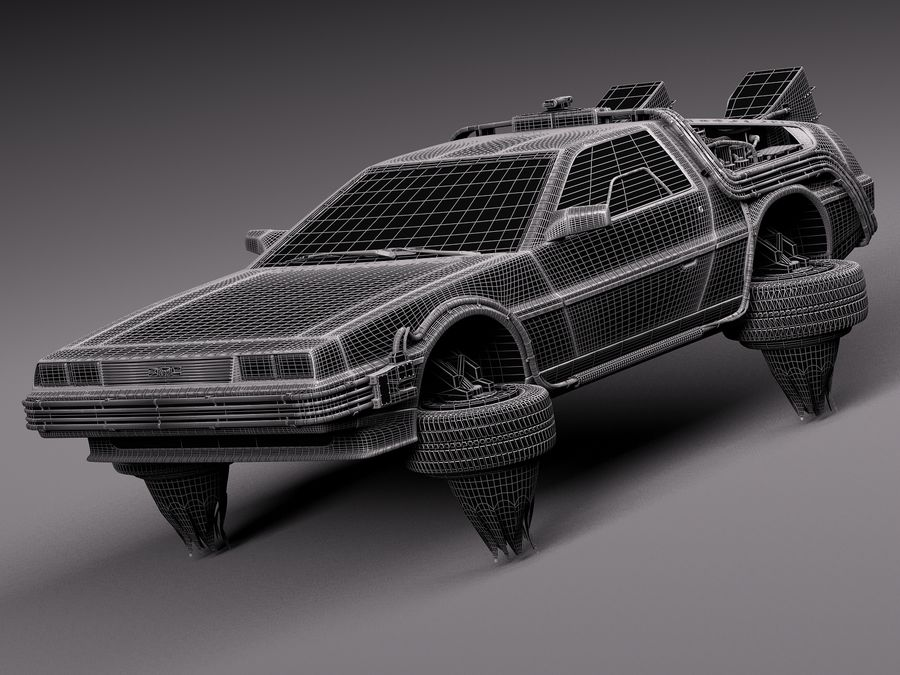 Back To The Future Delorean Episode 2 Future royalty-free 3d model - Preview no. 15