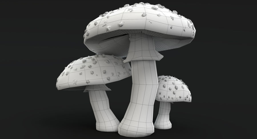 Amanita Mushrooms royalty-free 3d model - Preview no. 24