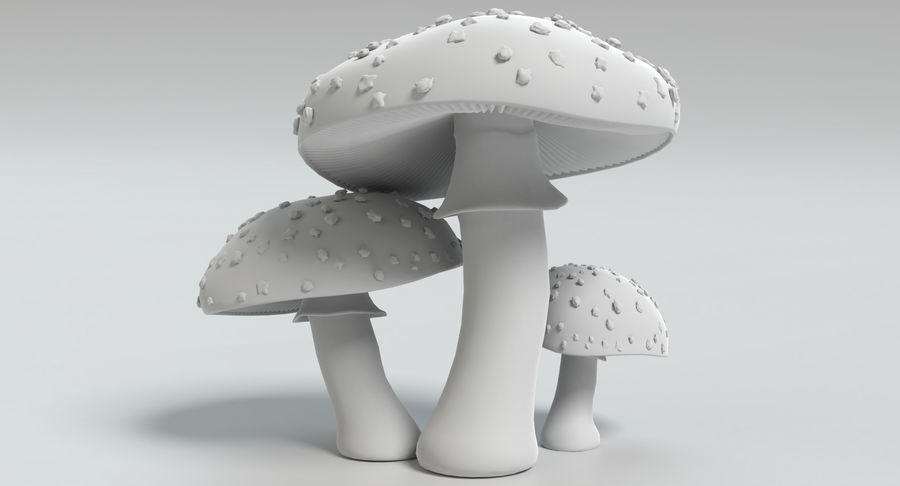 Amanita Mushrooms royalty-free 3d model - Preview no. 22