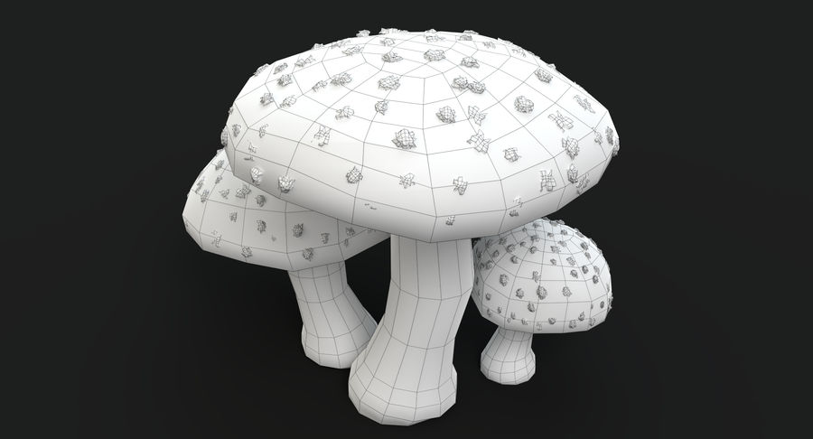 Amanita Mushrooms royalty-free 3d model - Preview no. 14