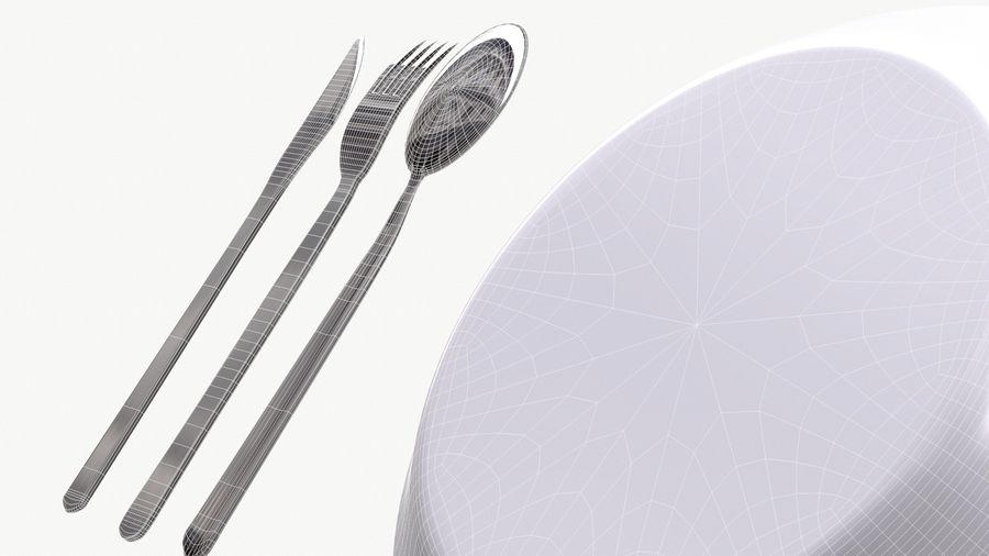 dishes, basic tableware royalty-free 3d model - Preview no. 9
