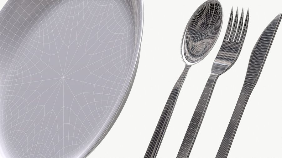 dishes, basic tableware royalty-free 3d model - Preview no. 8