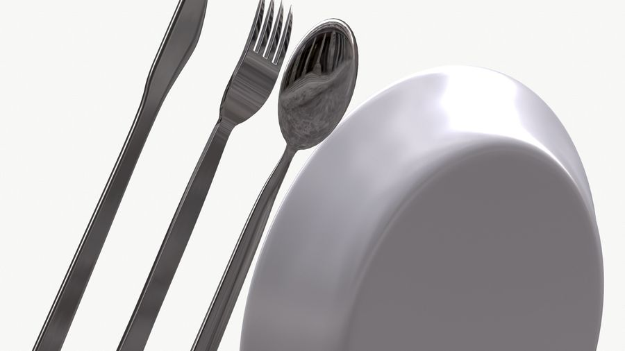 dishes, basic tableware royalty-free 3d model - Preview no. 4