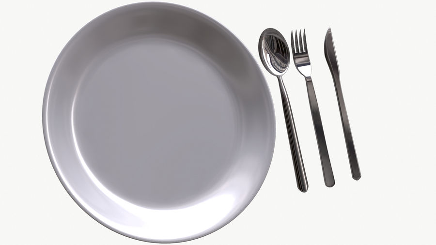 dishes, basic tableware royalty-free 3d model - Preview no. 3