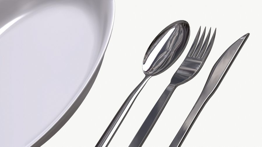 dishes, basic tableware royalty-free 3d model - Preview no. 1