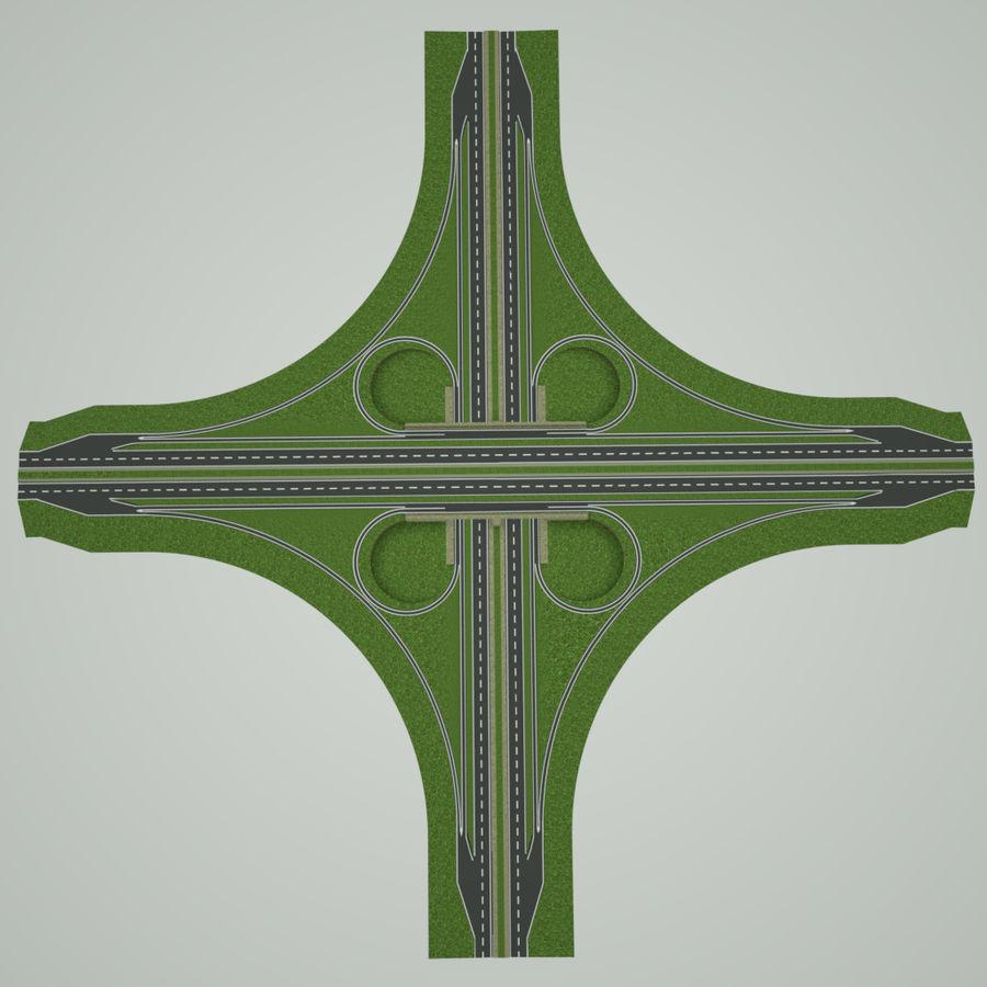 Freeway Interchange royalty-free 3d model - Preview no. 6