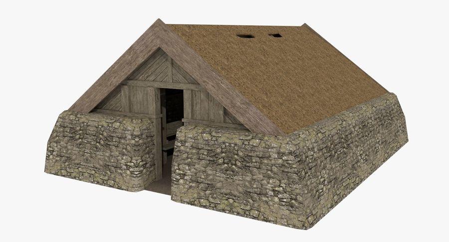 Dom Wikingów jeden z wnętrzem teksturowanym royalty-free 3d model - Preview no. 2