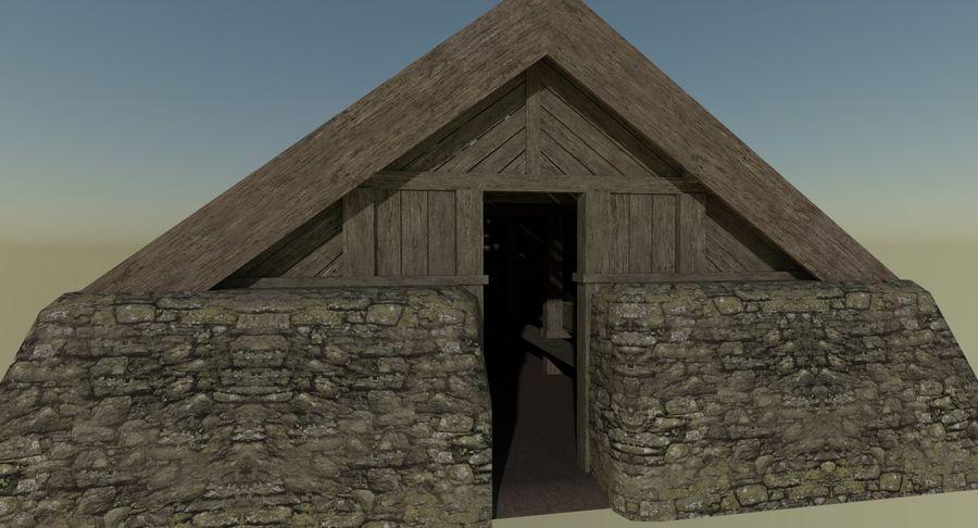 Dom Wikingów jeden z wnętrzem teksturowanym royalty-free 3d model - Preview no. 6