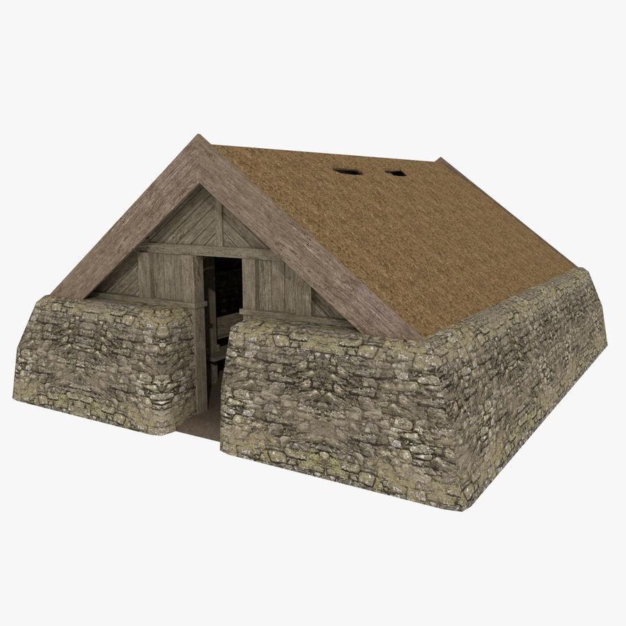 Dom Wikingów jeden z wnętrzem teksturowanym royalty-free 3d model - Preview no. 1