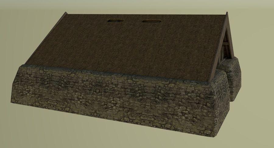 Dom Wikingów jeden z wnętrzem teksturowanym royalty-free 3d model - Preview no. 4