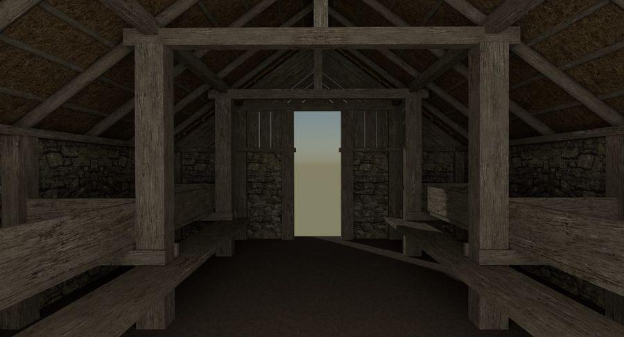 Dom Wikingów jeden z wnętrzem teksturowanym royalty-free 3d model - Preview no. 10