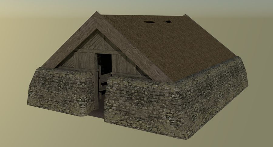 Dom Wikingów jeden z wnętrzem teksturowanym royalty-free 3d model - Preview no. 3