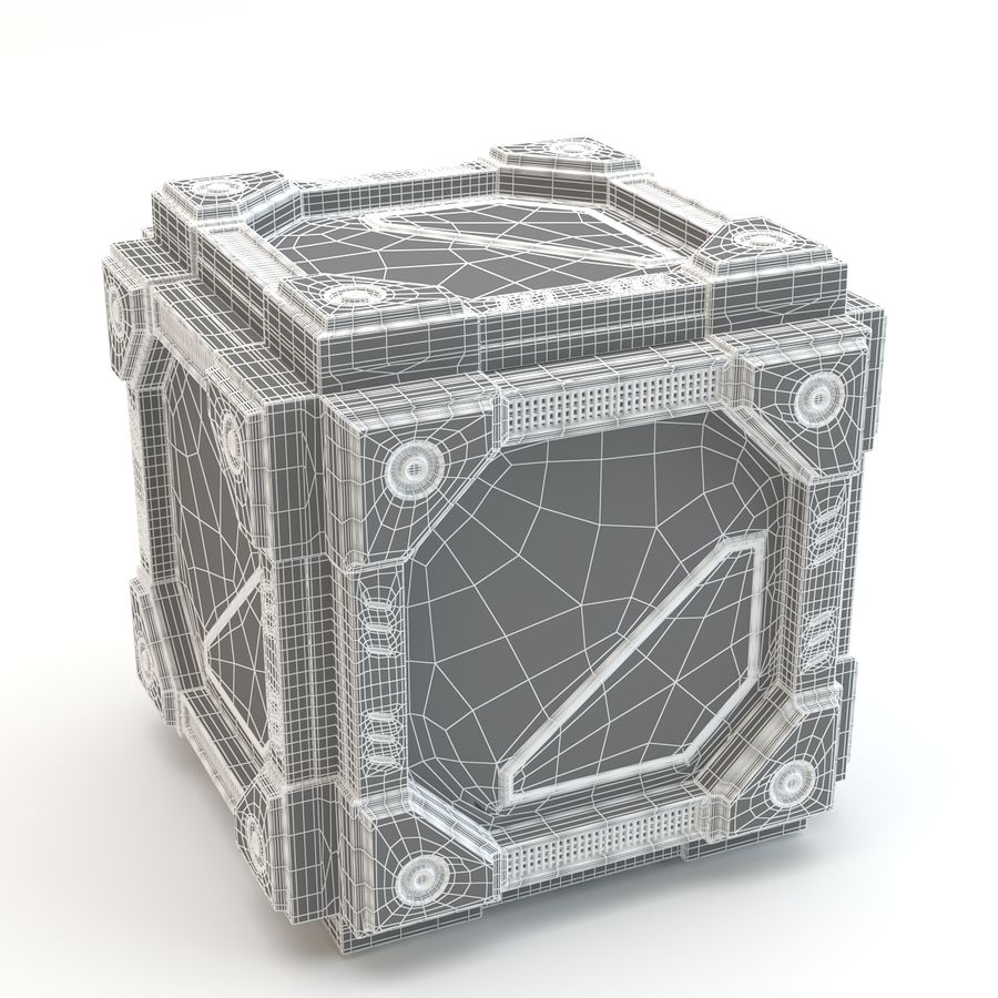 Sci-fi cube royalty-free 3d model - Preview no. 4