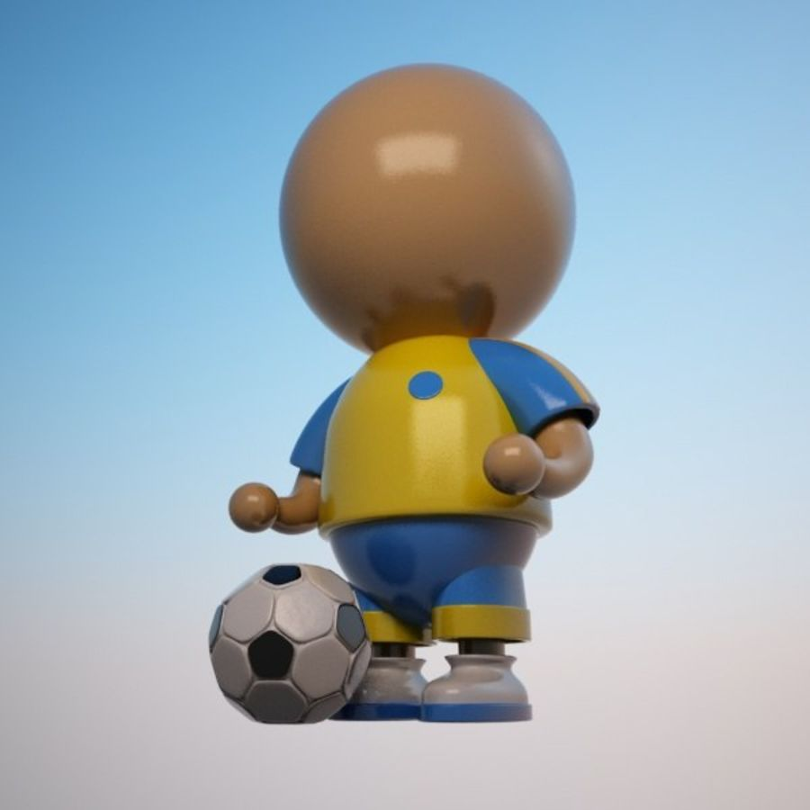 Cartoon Sportsman Character royalty-free 3d model - Preview no. 3