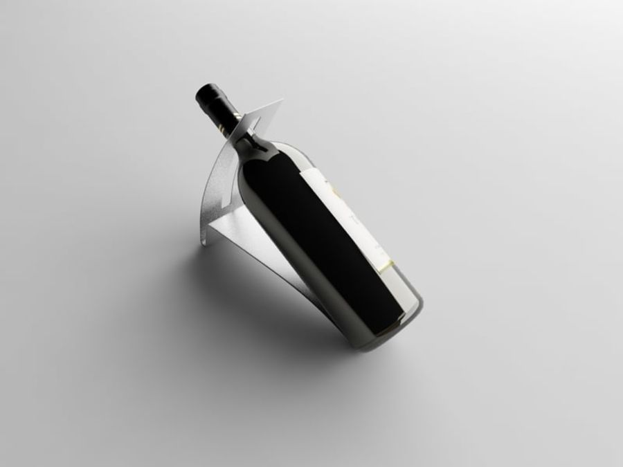 Bottle of wine on a stand royalty-free 3d model - Preview no. 5
