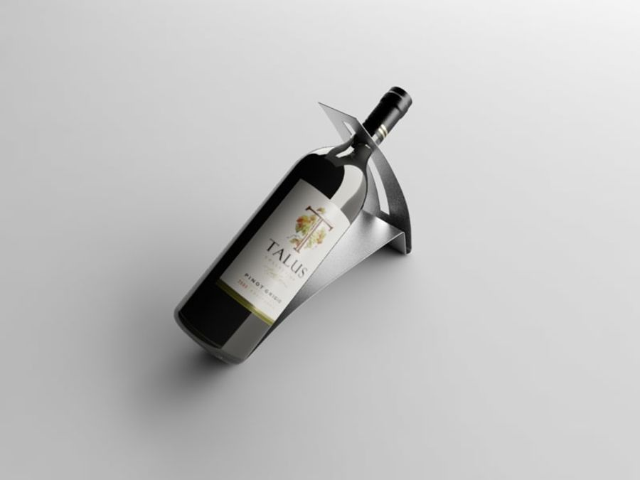 Bottle of wine on a stand royalty-free 3d model - Preview no. 2