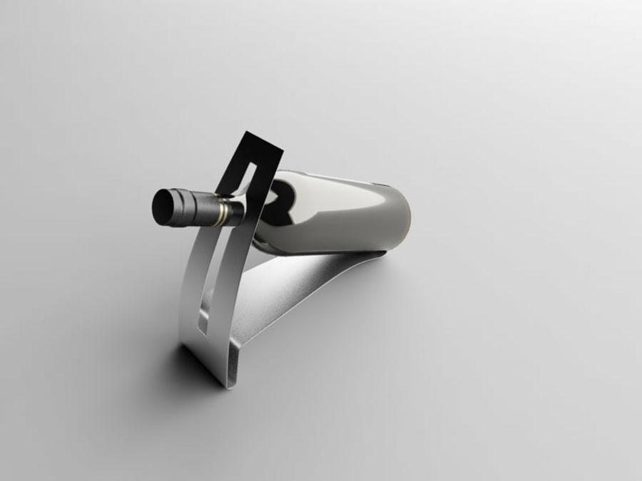 Bottle of wine on a stand royalty-free 3d model - Preview no. 4