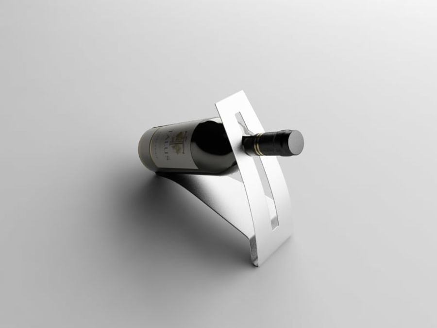 Bottle of wine on a stand royalty-free 3d model - Preview no. 3