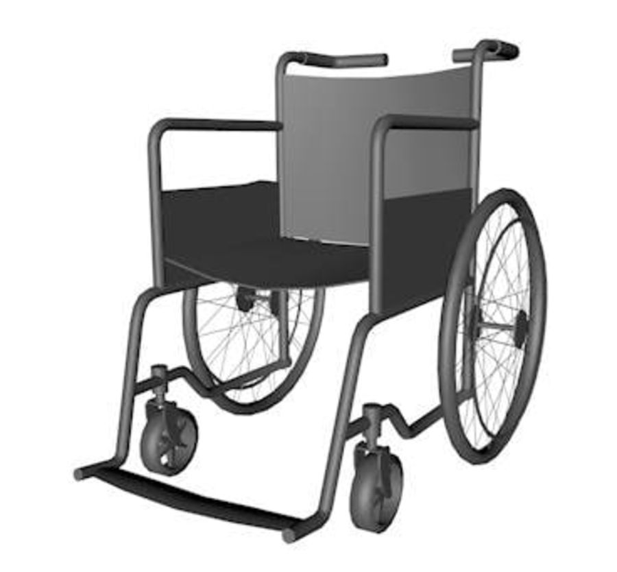 Low Poly Wheelchair royalty-free 3d model - Preview no. 2