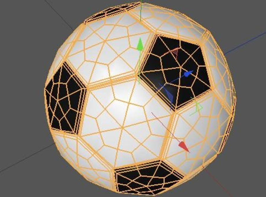 Low Poly Football Soccer Ball royalty-free 3d model - Preview no. 3