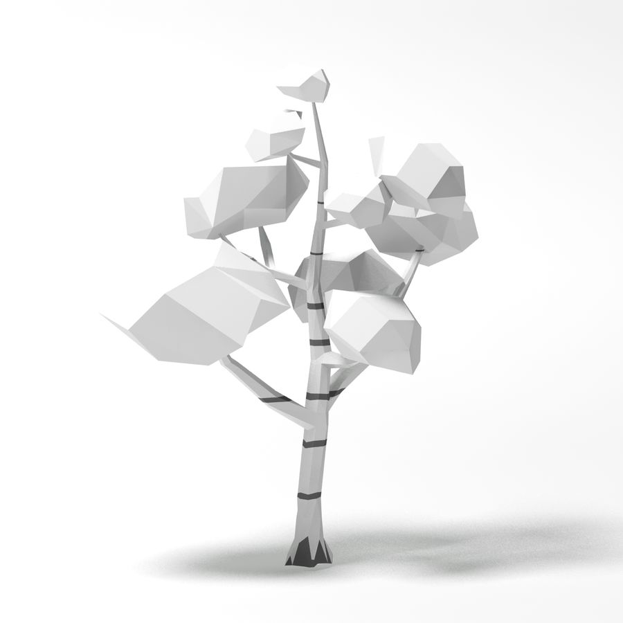 动画片低多桦树 royalty-free 3d model - Preview no. 9