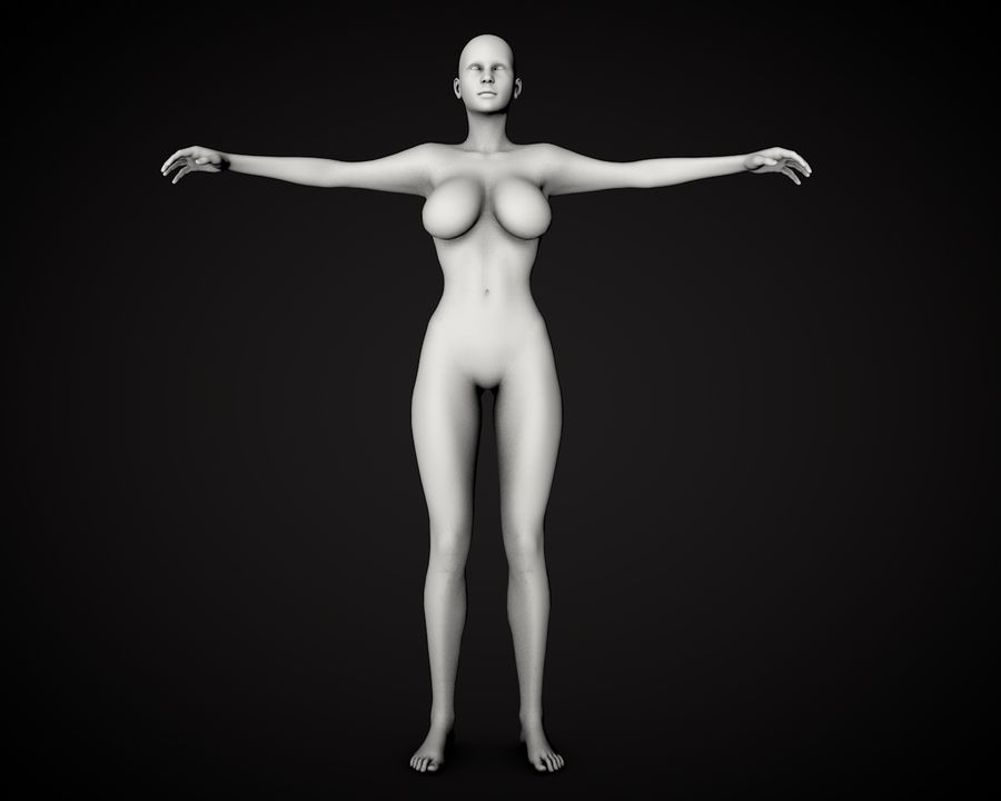 Corpo Feminino Bonito royalty-free 3d model - Preview no. 3