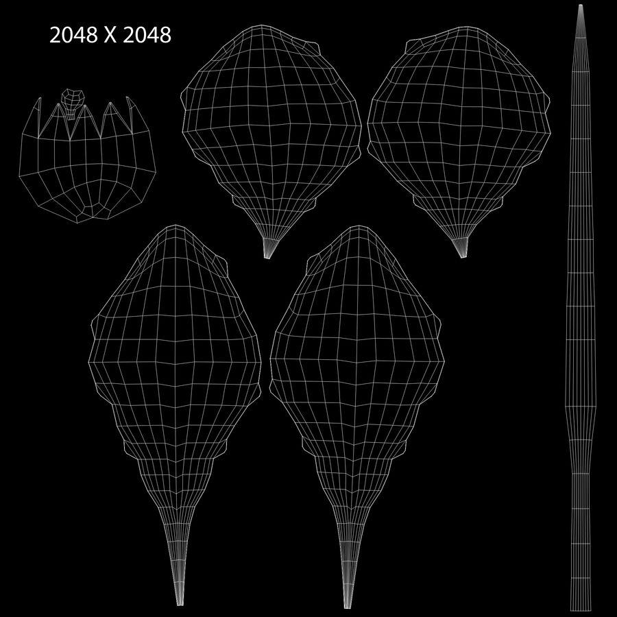 Plantago växt royalty-free 3d model - Preview no. 8