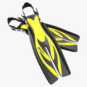 Yüzmek Yüzgeçleri 3 Sarı 3D Model 3d model