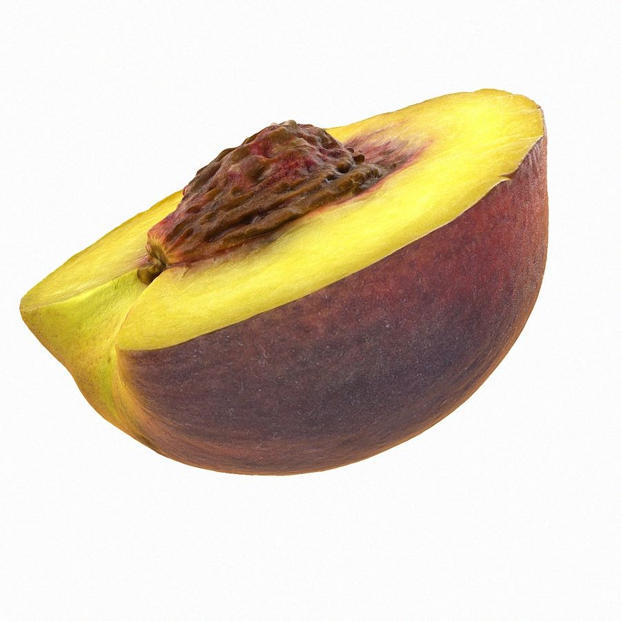 Tropical Realistic Peach Half 3 royalty-free 3d model - Preview no. 3