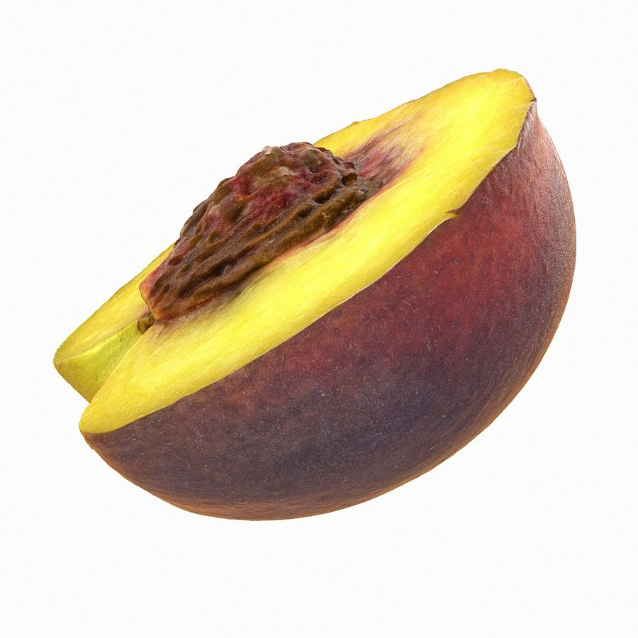 Tropical Realistic Peach Half 3 royalty-free 3d model - Preview no. 9