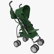 Детская Коляска Зеленый 3D Модель 3d model