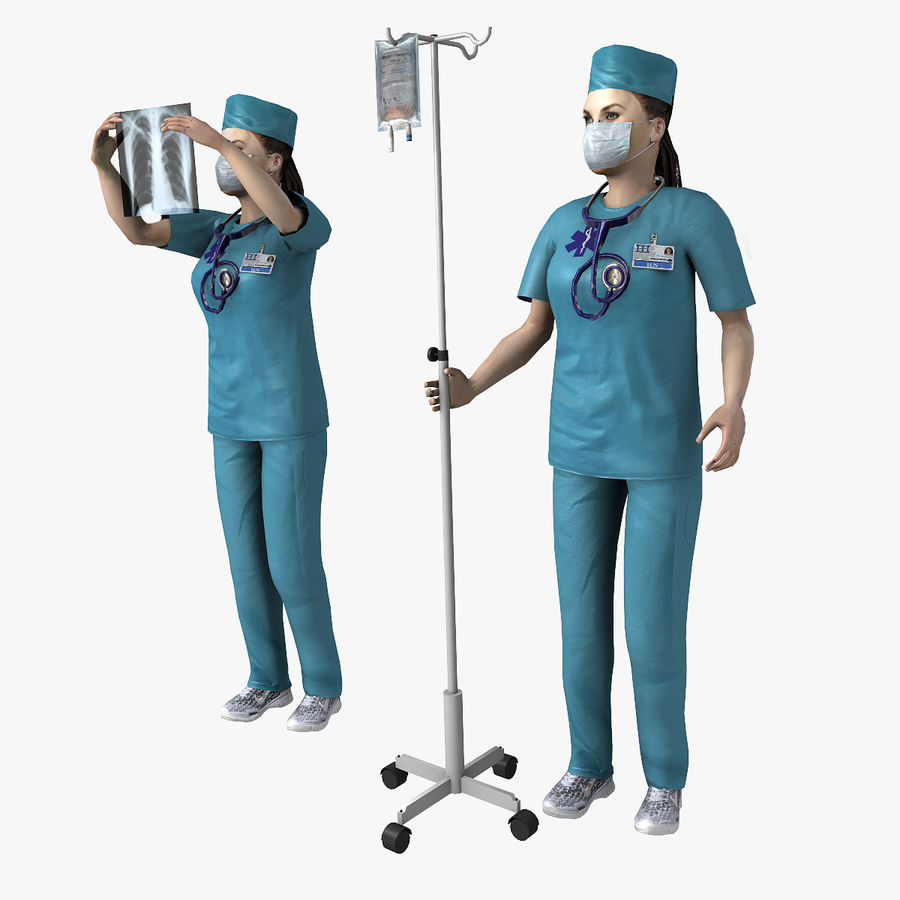 Femme médecin truqué royalty-free 3d model - Preview no. 1