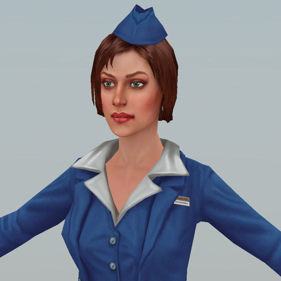 hostess royalty-free 3d model - Preview no. 14