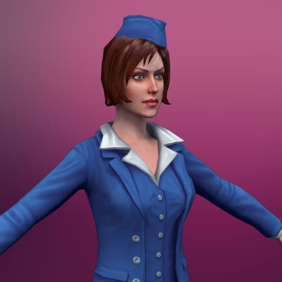 hostess royalty-free 3d model - Preview no. 1