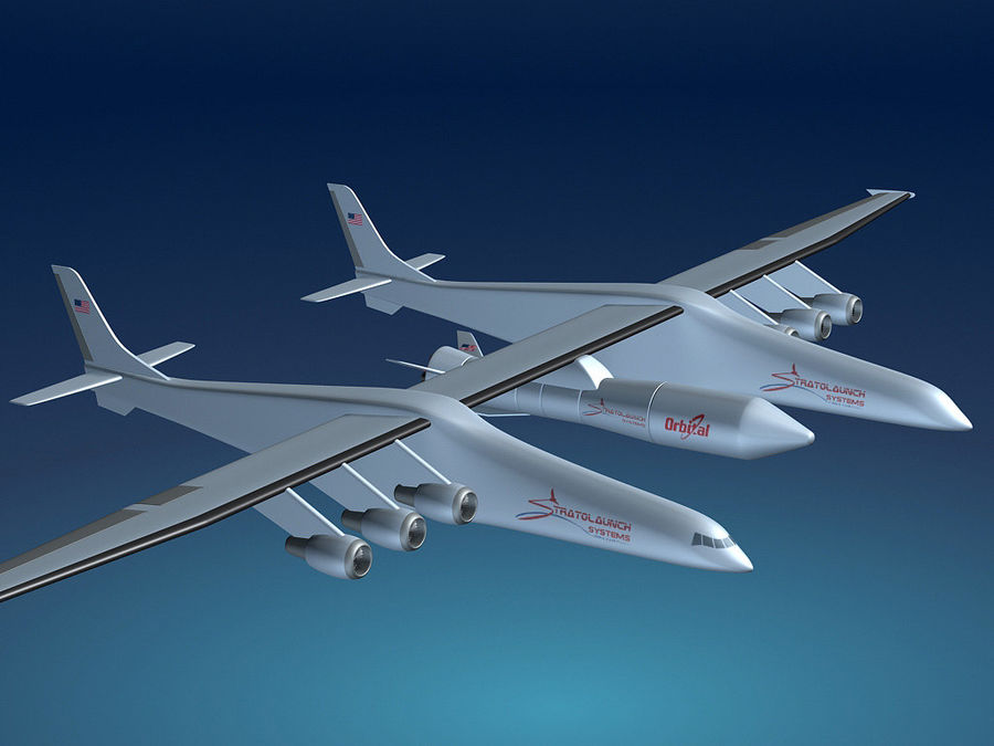 Stratolaunch-draagvliegtuigen royalty-free 3d model - Preview no. 1