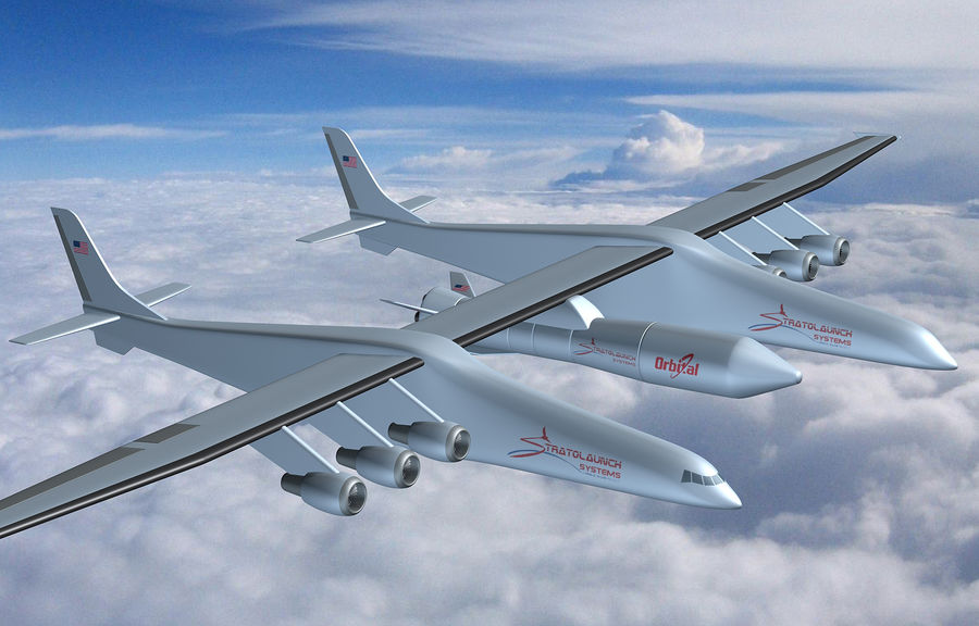 Stratolaunch-draagvliegtuigen royalty-free 3d model - Preview no. 2