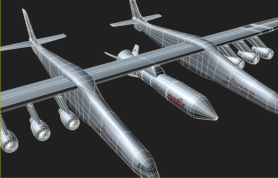 Stratolaunch-draagvliegtuigen royalty-free 3d model - Preview no. 5