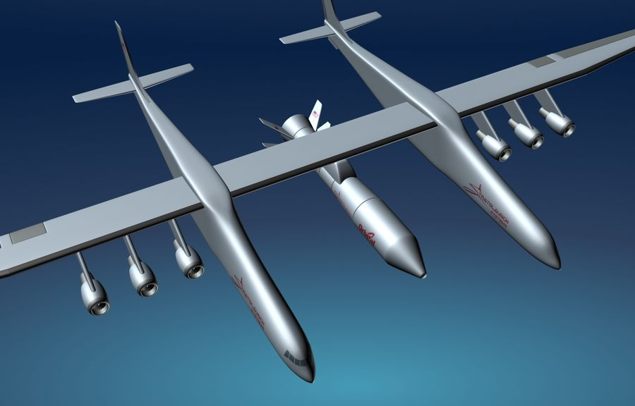 Stratolaunch carrier aircraft royalty-free 3d model - Preview no. 3