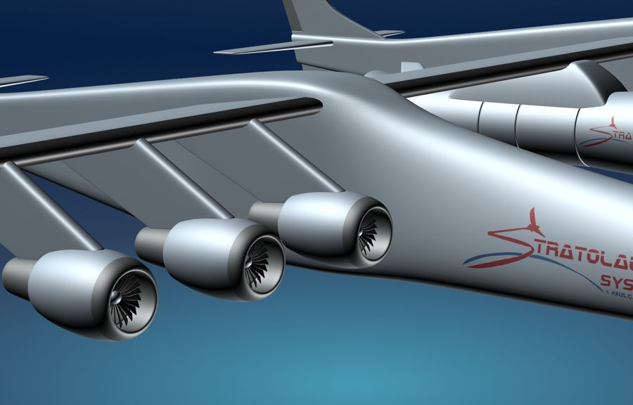 Stratolaunch-draagvliegtuigen royalty-free 3d model - Preview no. 4